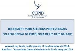 Aprovat el Reglament Marc de Seccions Professionals del COPIB